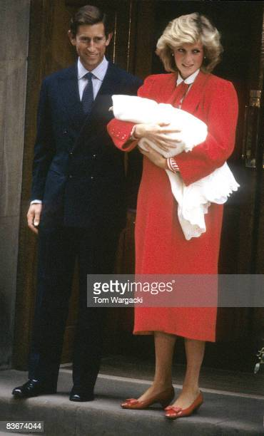 Princess Diana and Prince Charles leaving StMary's Hospital Paddington with Prince Harry in London September 1984