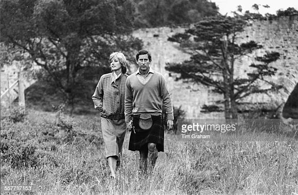 Princess Diana and Prince Charles of Wales walking through the grounds of Balmoral Castle together following their honeymoon Scotland August 1981