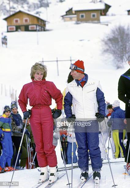 Princess Diana And Prince Charles On A Skiing Holiday In Vaduz Liechtenstein