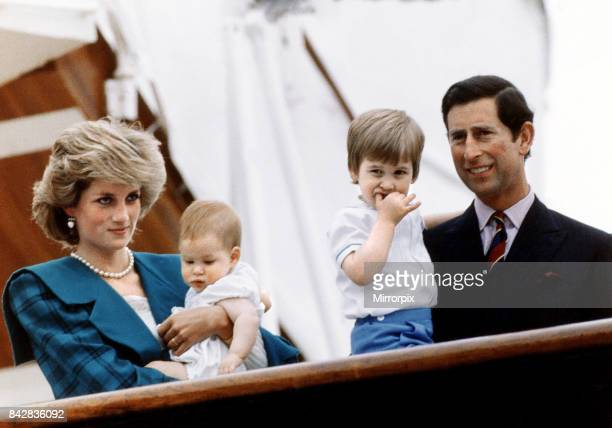 Princess Diana and Prince Charles pose with their sons Princes Harry and William on board royal yacht Britannia during their visit to Venice Italy...