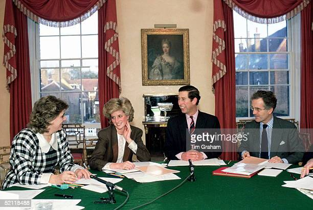 Princess Diana And Prince Charles Sitting Round The Dining Room Table At Home In Kensington Palace For A Planning Meeting To Co-ordinate Diary...