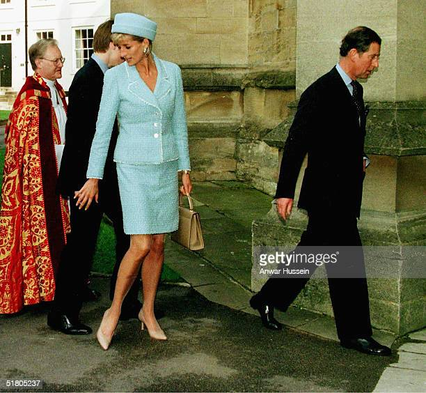Princess Diana and Prince Charles the Prince of Wales arrive at St George's Chapel Windsor Castle for Prince William's confirmation in this September...