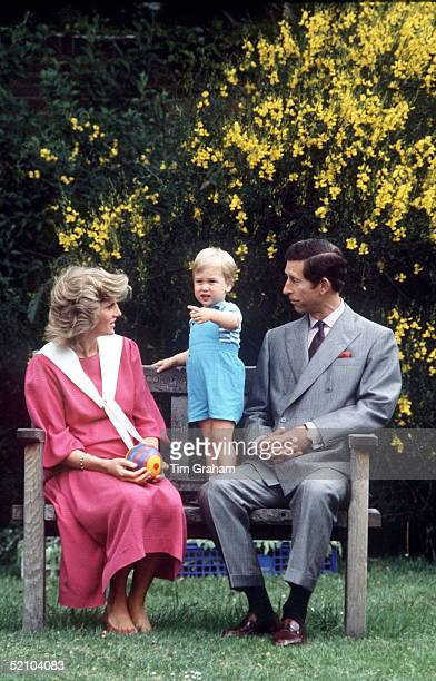 Princess Diana And Prince Charles With Prince William In The Gardens Of Kensington Palace