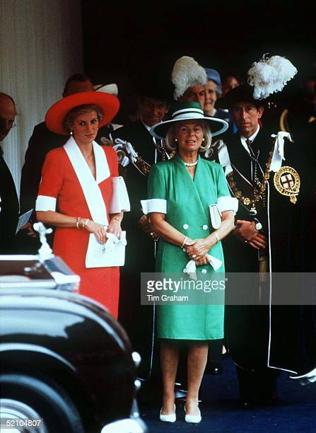 Princess Diana And Prince Charles With The Duchess Of Kent At The Garter Ceremony In Windsor Circa 1990s