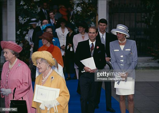 Princess Diana and Prince Edward attending the wedding of Viscount Linley and Serena Stanhope at the Church of St Margaret in the grounds of...