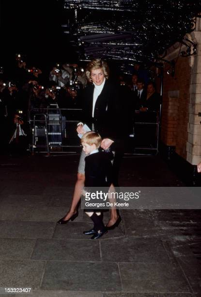 Princess Diana and Prince Harry at the Palace Theatre to watch his brother's Christmas play in London on December 13 1988