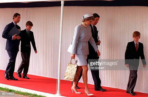 Princess Diana And Prince Harry With Prince Charles And Prince William In Hyde Park For Heads Of State Ceremony As Part Of Ve Commemoration