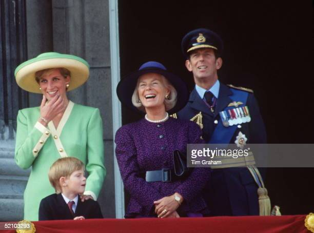 Princess Diana And Prince Harry With The Duke And Duchess Of Kent On The Balcony Of Buckingham Palace During The Battle Of Britain Anniversary Parade
