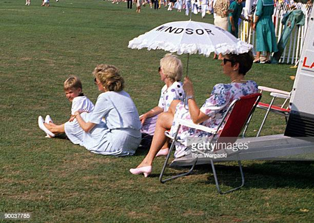 Princess Diana and Prince William at Windsor Polo on July 1986 in London England