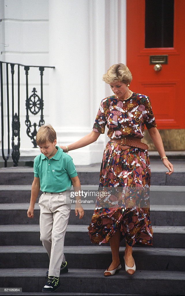 Princess Diana And Prince William Leaving Wetherby School After Delivering His Brother.