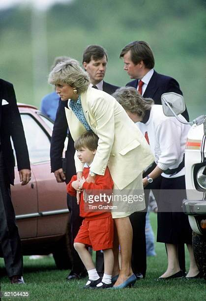 Princess Diana And Prince William Watching Polo At Smith's Lawn Polo Club Two Police Bodyguards Stand Behind Them Ken Wharfe At Right Wearing Red Tie