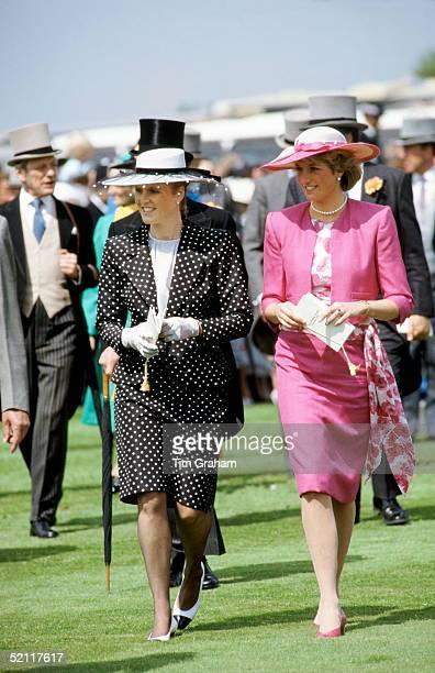 Princess Diana And Sarah Duchess Of York Attending The Derby