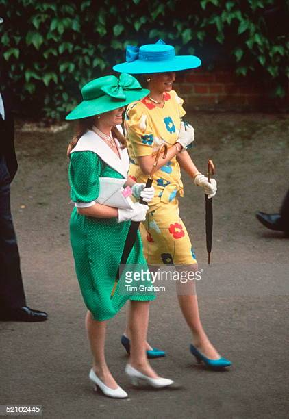 Princess Diana And Sarah Duchess Of York Walking Together At Ascot They Are Both Carrying Umbrellas