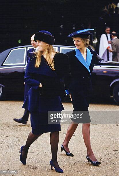 Princess Diana And The Duchess Of York Attending The Christmas Service At Sandringham.
