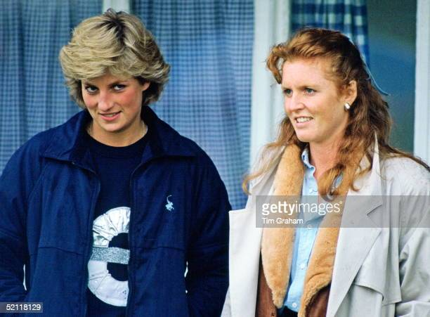 Princess Diana And The Duchess Of York Stand Together As They Watch A Polo Match In Windsor Berkshire
