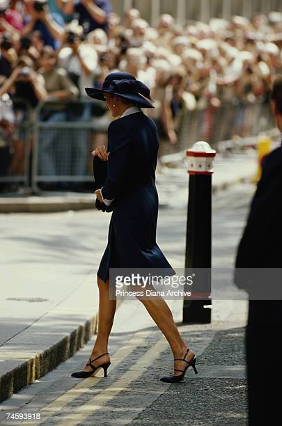 Princess Diana arrives alone to attend the wedding of The Lady Sarah ArmstrongJones and Daniel Chatto 14th July 1994