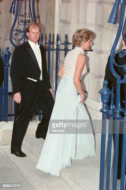 Princess Diana arrives at Spencer House in London in a stunning sleeveless halter neck top and full length flowing silk chiffon skirt The evening...