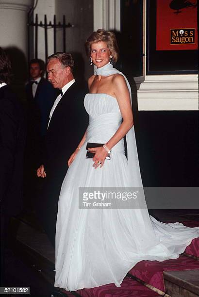 "Princess Diana Arrives At The Theatre Royal Drury Lane London For A Performance Of The Musical ""miss Saigon"" Wearing A Pale Blue Chiffon Evening..."