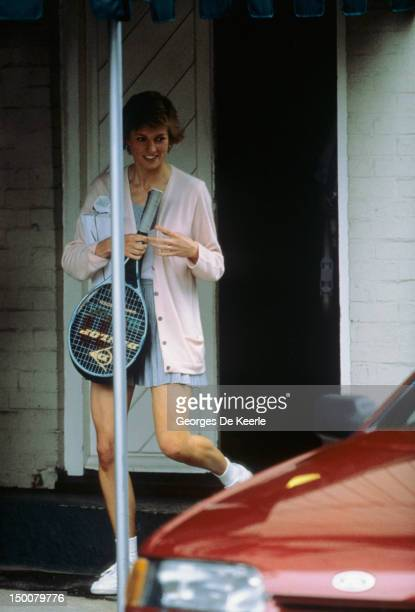 Princess Diana arrives at the Vanderbilt Raquet Club in London to play tennis with German tennis player Steffi Graf on June 10, 1988.