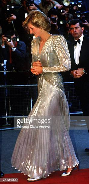 Princess Diana arrives for the London premiere of the James Bond film 'A View To A Kill' at the Empire, Leicester Square, July 1985. She is wearing a...