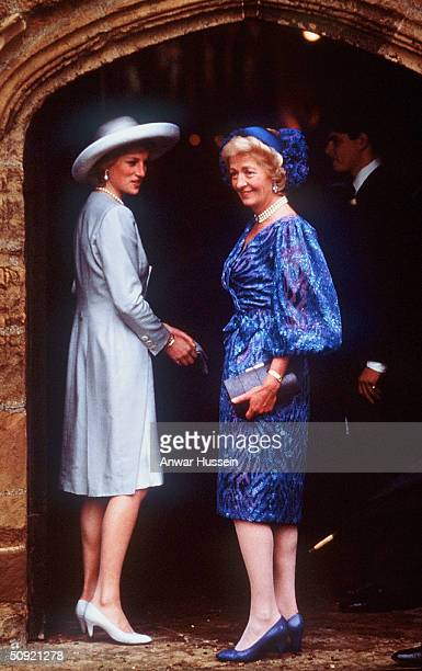 Princess Diana arrives with her mother Frances ShandKydd at St Mary's Church on September 17 1989 for the wedding of her brother Charles Spencer the...
