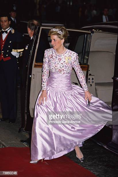 Princess Diana arriving at Claridges for a Nigerian state banquet wearing a Catherine Walker gown and the Spencer family tiara, March 1989.