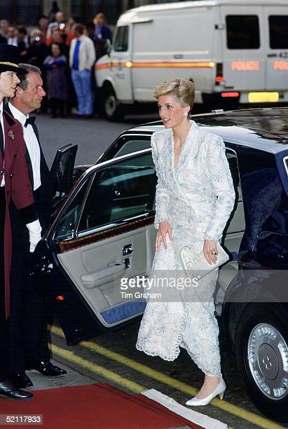 Princess Diana Arriving At Covent Garden Opera House For A Performance Of 'il Travatore' She Is Wearing A White Evening Coat Dress Designed By...