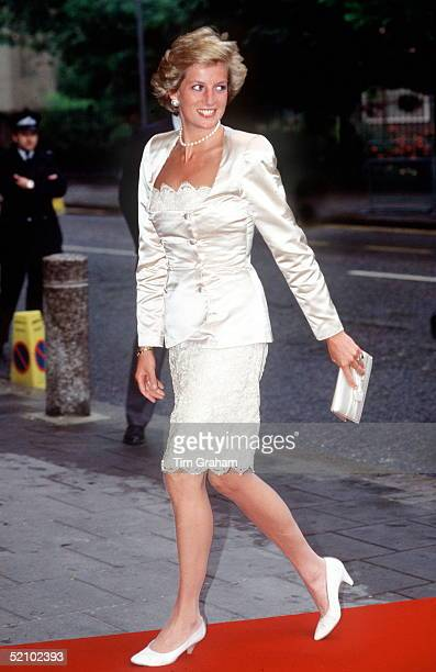 Princess Diana Arriving At Sadlers Wells Theatre In London Wearing A Lace And Satin Evening Suit By Fashion Designer Bruce Oldfield