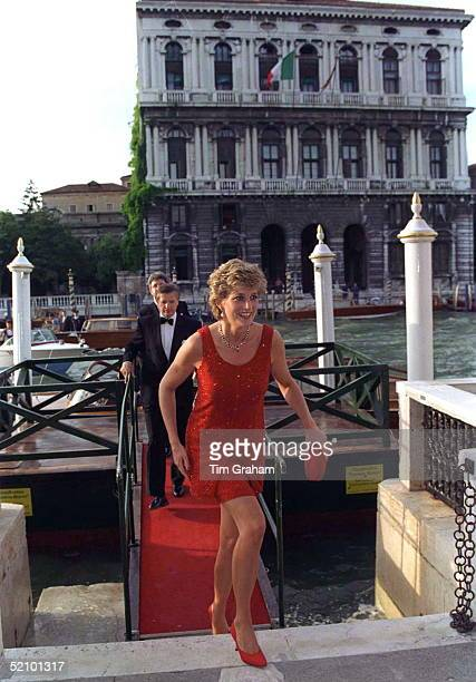 Princess Diana Arriving At The Peggy Guggenheim Museum In Venice For A Reception Her Dress Designed By Jacques Azagury