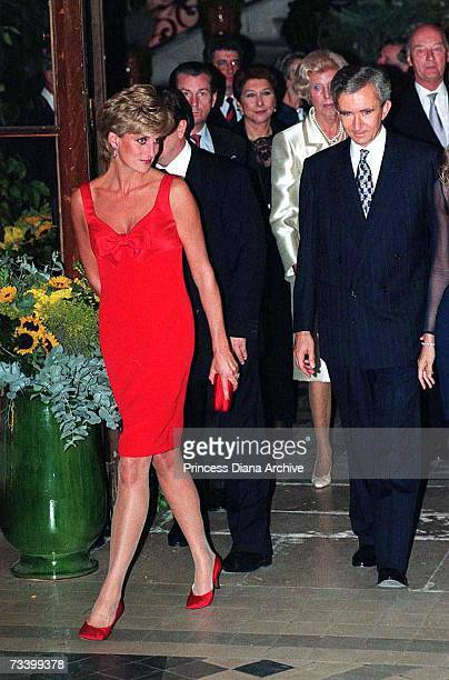 Princess Diana arriving at the Petit Palais Paris for a gala dinner September 1995 She is wearing a dress by Christian Lacroix