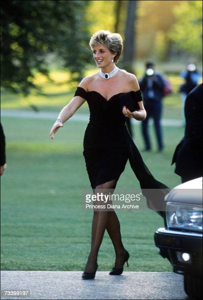 Princess Diana arriving at the Serpentine Gallery, London, in a gown by Christina Stambolian, June 1994.