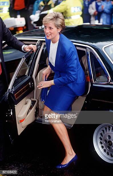 Princess Diana Arriving By Jaguar Car At The Core Trust Day Centre In London
