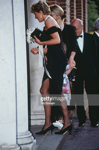 Princess Diana arriving for a gala event at the Serpentine Gallery London 29th June 1994 She is wearing a black gown by Christina Stambolian