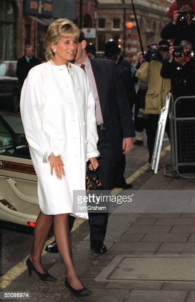 Princess Diana Arriving For A Lunch Given By The Association Of American Correspondents At Brown's Hotel, London. The Princess Is Wearing A Coat...