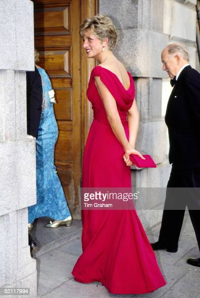 Princess Diana Arriving For A Recital By Kiri Te Kanawa In London Wearing A Dress By Fashion Designer Victor Edelstein The Event Was Raising Funds...