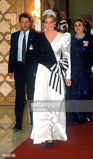 Princess Diana Arriving For Dinner At The Crown Prince Palace At Rawdah In Saudi Arabia Behind Are Her Bodyguard Graham Smith And Lady In Waiting...