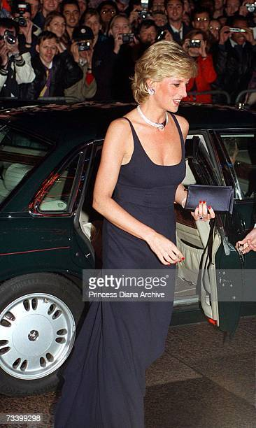 Princess Diana arriving for the London premiere of Lewis Gilbert's film 'Haunted', October 1995. She is wearing a low-cut evening dress by Catherine...
