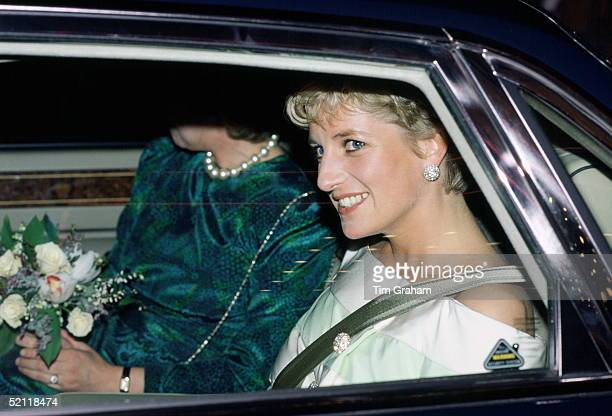 Princess Diana Arriving For The Premiere Of 'accidental Hero' Starring Dustin Hoffman In Leicester Square