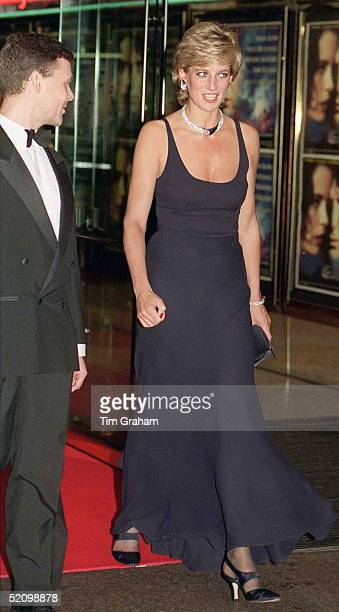 Princess Diana Arriving In A Blue Evening Dress Designed By Catherine Walker For The Charity Premiere Of The Film 'haunted' At The Empire Cinema In...