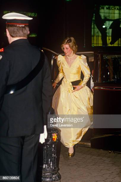 Princess Diana Arriving In Rolls Royce Limousine Car For The Premiere Of The Film 2010 In London on March 5 1985Wearing A Satin Evening Dress...