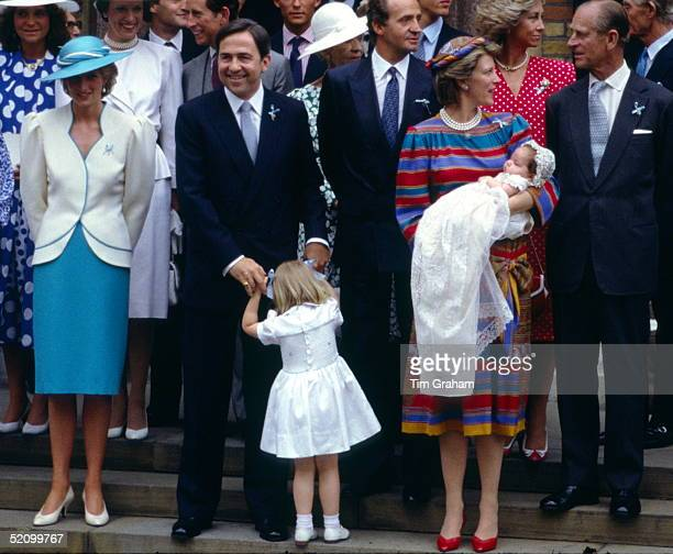 Princess Diana As Godmother Joining Members Of The Greek Royal Family For The Christening Of Prince Philippos Of Greece L To R Princess Diana King...