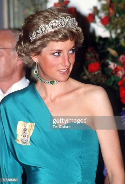 Princess Diana At A Banquet At Claridges Wearing The Spencer Diamond Tiara Queen Mary's Cabochon Cabuchon Emerald And Diamond Choker Necklace And The...