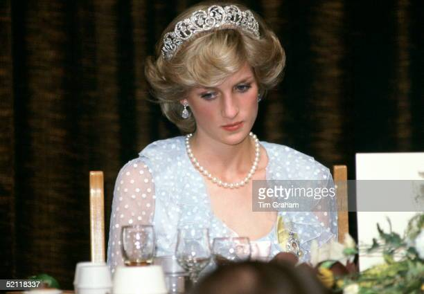 Princess Diana At A Banquet In New Zealand Wearing A Blue Chiffon Evening Dress Designed By Fashion Designers David And Elizabeth Emanuel .