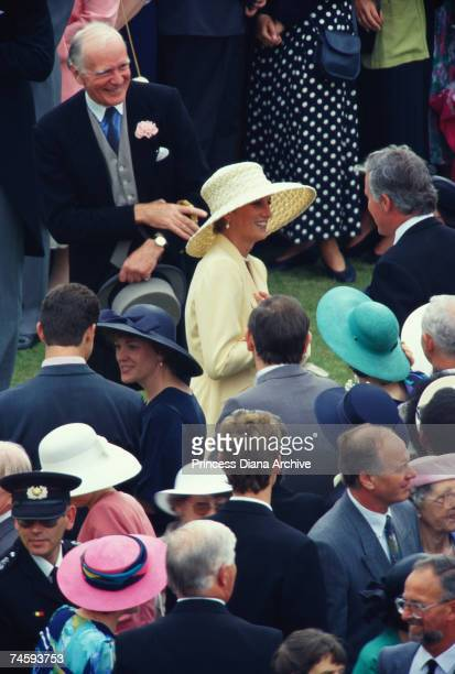 Princess Diana at a Buckingham Palace garden party 15th July 1993