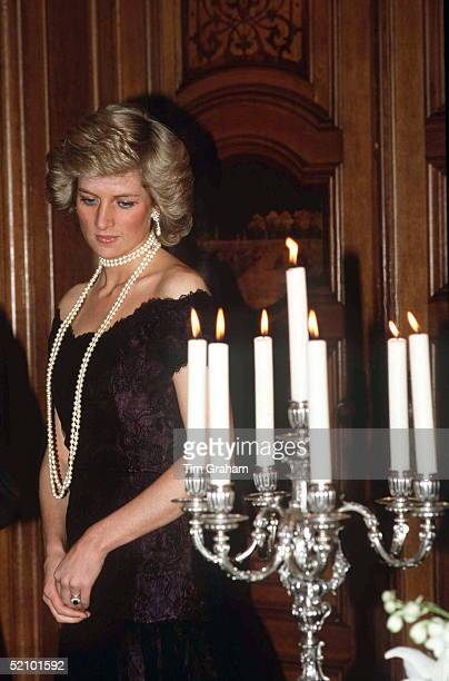 Princess Diana At A Dinner At Hamburg City Hall Germany Wearing A Black Lace Evening Dress Designed By Fashion Designer Victor Edelstein Worn With...