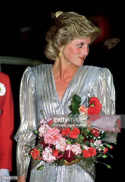 Princess Diana at a film premiere in Melbourne November 1985 She is wearing a gown by Bruce Oldfield