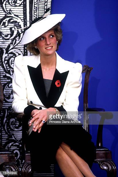 Princess Diana at a reception at the National Gallery in Washington DC to launch the 'Houses of Britain' exhibition November 1985 She is wearing a...