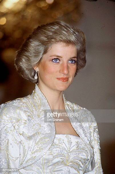 Princess Diana At A State Banquet At The Champs Elysee Palace Paris France