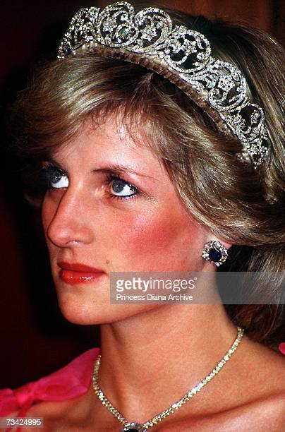 Princess Diana at a state dinner in Brisbane Australia 11th April 1983 She is wearing the Spencer family tiara and a diamond and sapphire necklace...