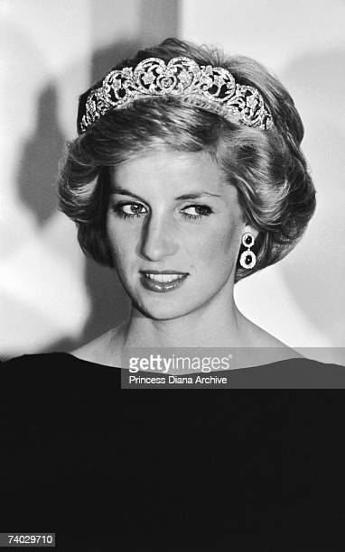 Princess Diana at a state dinner in Canberra November 1985